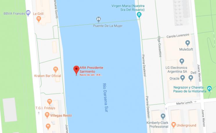 mapa museu fragata sarmiento